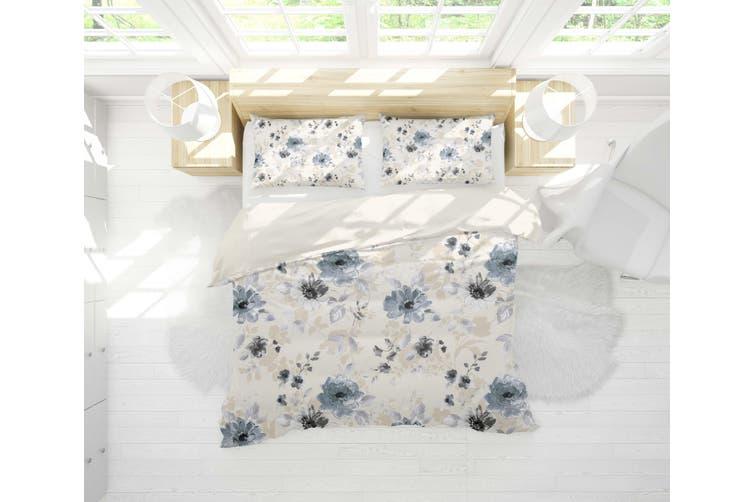 3D Blue Ink Floral Quilt Cover Set Bedding Set Pillowcases 14-Single