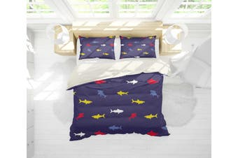 3D Colorful Fish Grey Background Quilt Cover Set Bedding Set Pillowcases 13-Single