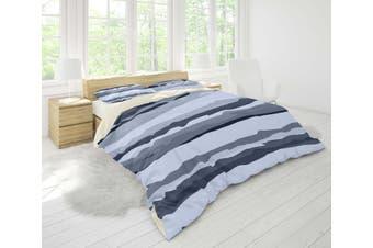 3D Dark Light Grey Stripes Quilt Cover Set Bedding Set Pillowcases 10-Single