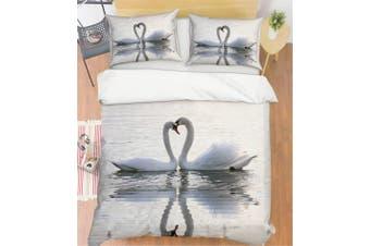 3D Grey White Swan Quilt Cover Set Bedding Set Pillowcases 91-Single