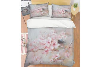 3D Grey Pink Peach Blossom Quilt Cover Set Bedding Set Pillowcases 90-King