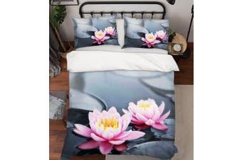 3D Grey Pink Lotus Flower Leaves Quilt Cover Set Bedding Set Pillowcases 80-Single