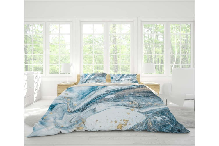 3d Blue Marble Texture Quilt Cover Set, Marble Queen Bedding