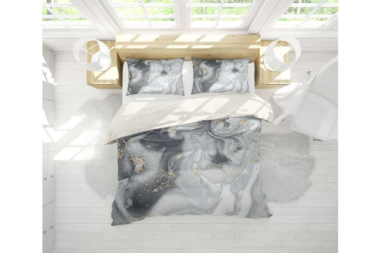 3D Grey Marble Texture Quilt Cover Set Bedding Set Pillowcases 111-Double