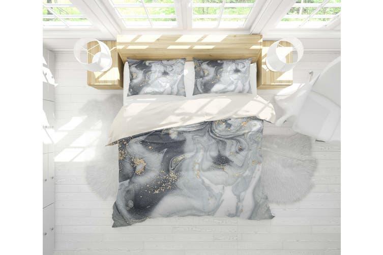 3D Grey Marble Texture Quilt Cover Set Bedding Set Pillowcases 111-Queen