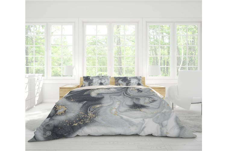 3D Grey Marble Texture Quilt Cover Set Bedding Set Pillowcases 111-King