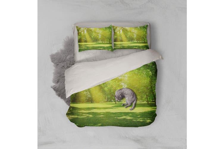 3D Green Grassland Forest Quilt Cover Set Bedding Set Pillowcases 110-Double