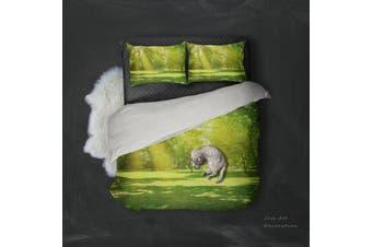 3D Green Grassland Forest Quilt Cover Set Bedding Set Pillowcases 110-Queen