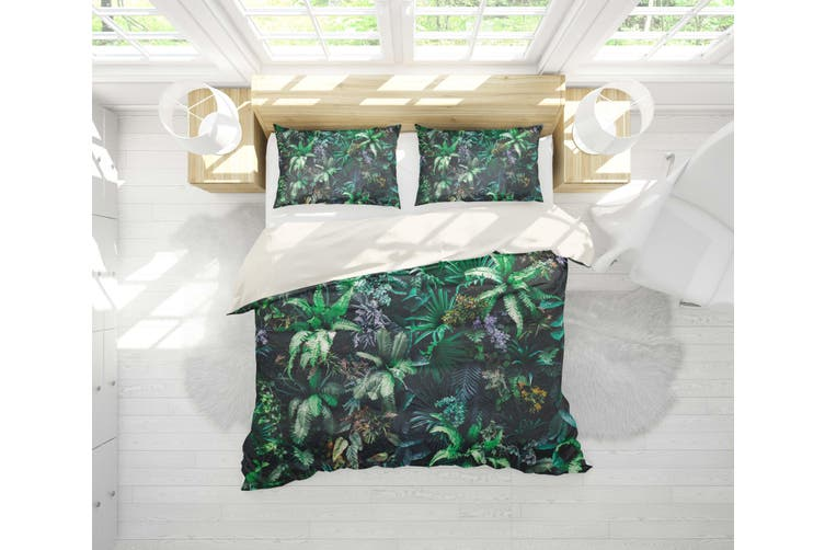 3D Green Jungle Leaves Quilt Cover Set Bedding Set Pillowcases 106-Single