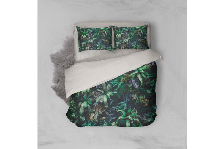 3D Green Jungle Leaves Quilt Cover Set Bedding Set Pillowcases 106-Queen