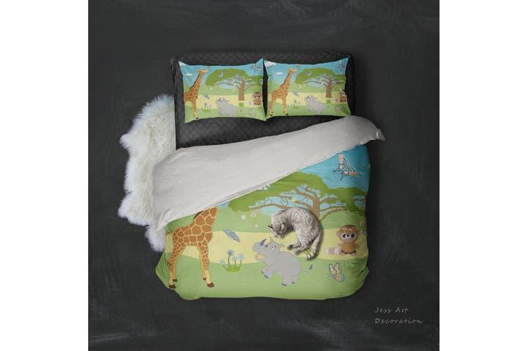 3D Cartoon Giraffe Rhinoceros Quilt Cover Set Bedding Set Pillowcases 103-King