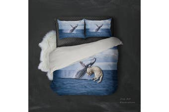 3D Dark Blue Sea Dolphin Quilt Cover Set Bedding Set Pillowcases 102-Double