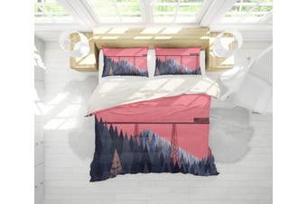 3D Pink Pine Forest Quilt Cover Set Bedding Set Pillowcases 188-Single