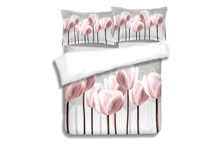 3D Pink Tulip Quilt Cover Set Bedding Set Pillowcases 71-King