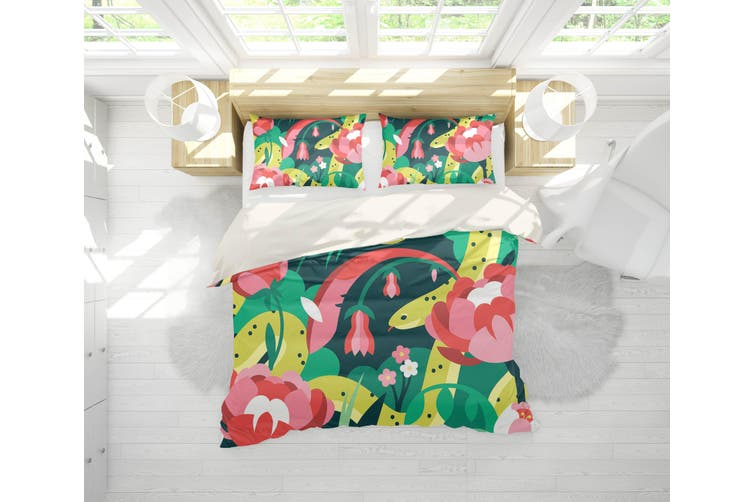 3D Red Flowers Green Leaves Quilt Cover Set Bedding Set Pillowcases 186-Double