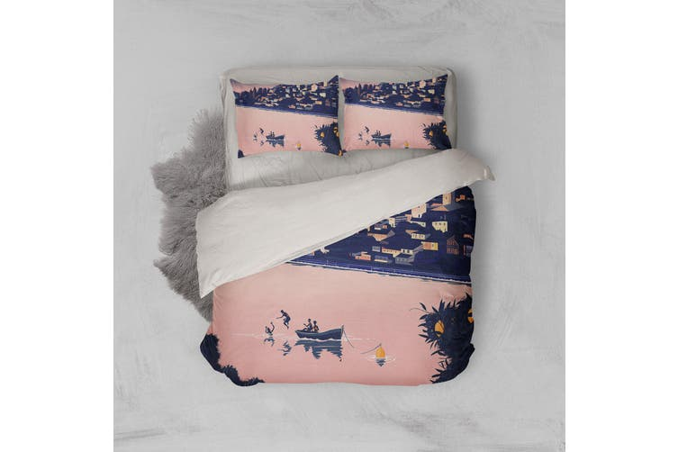 3D Pink Seaside Scenery Quilt Cover Set Bedding Set Pillowcases 182-King