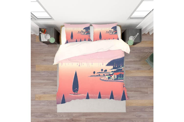 3D Pink Seaside Scenery Quilt Cover Set Bedding Set Pillowcases 181-Double