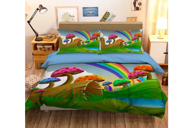 3D Rainbow Mushroom Grassland Wood Quilt Cover Set Bedding Set Pillowcases 69-King