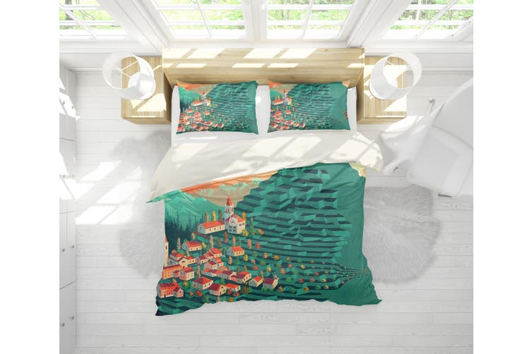 3D Green Wheat Field House Quilt Cover Set Bedding Set Pillowcases 180-Single