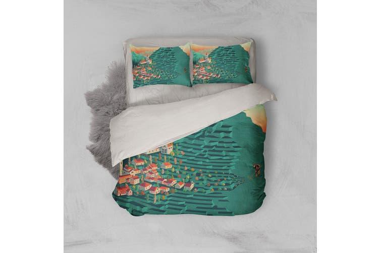 3D Green Wheat Field House Quilt Cover Set Bedding Set Pillowcases 180-Queen