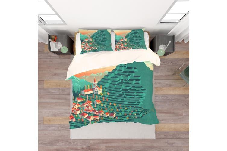 3D Green Wheat Field House Quilt Cover Set Bedding Set Pillowcases 180-King