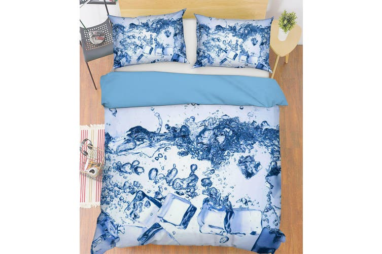 3D Blue Ice Cube Water Quilt Cover Set Bedding Set Pillowcases 67-Double