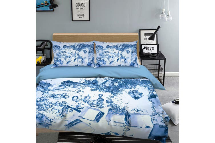 3D Blue Ice Cube Water Quilt Cover Set Bedding Set Pillowcases 67-Queen