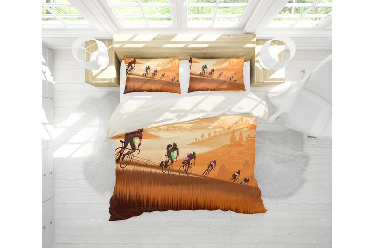 3D Cyclist Yellow Quilt Cover Set Bedding Set Pillowcases 179-Single