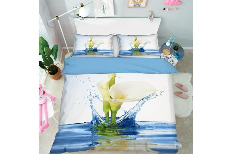 3D Blue Calla Lily Water Quilt Cover Set Bedding Set Pillowcases 66-Queen