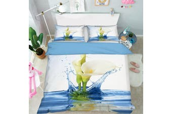 3D Blue Calla Lily Water Quilt Cover Set Bedding Set Pillowcases 66-King