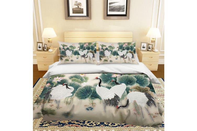 3D Crane Lotus Leaves Quilt Cover Set Bedding Set Pillowcases 65-Single