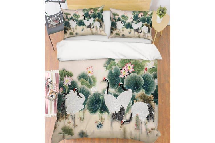 3D Crane Lotus Leaves Quilt Cover Set Bedding Set Pillowcases 65-King