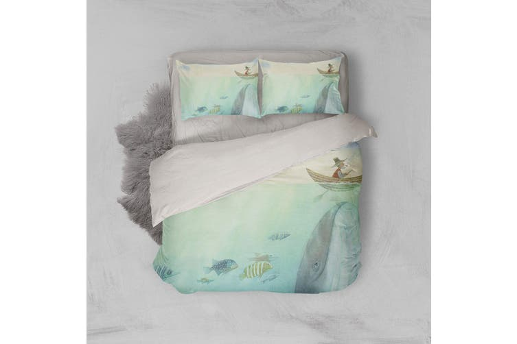3D Cartoon Fish Boat Quilt Cover Set Bedding Set Pillowcases 178-Single