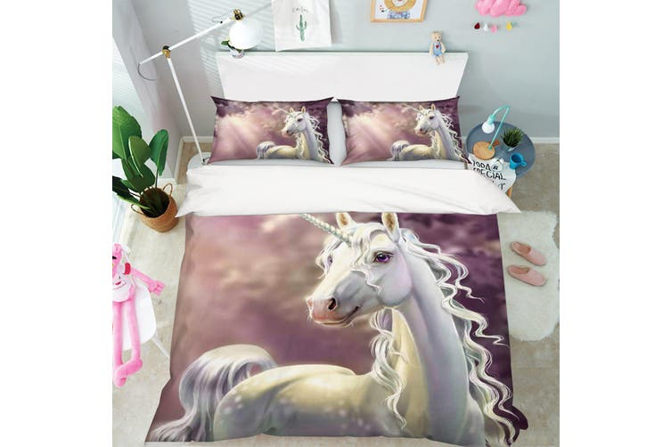 3D Pink Unicorn Quilt Cover Set Bedding Set Pillowcases 61-King