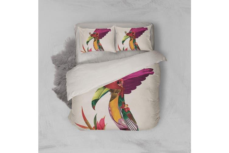 3D Pink Bird Quilt Cover Set Bedding Set Pillowcases 175-Double
