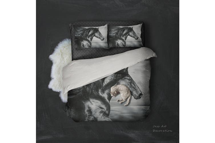 3D Black Horse Quilt Cover Set Bedding Set Pillowcases 99-Queen