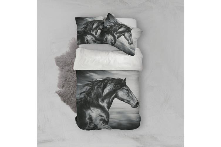 3D Black Horse Quilt Cover Set Bedding Set Pillowcases 99-King