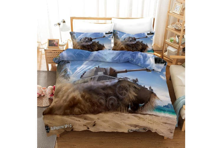 3D Tank Blue Sky Quilt Cover Set Bedding Set Pillowcases 57-Single