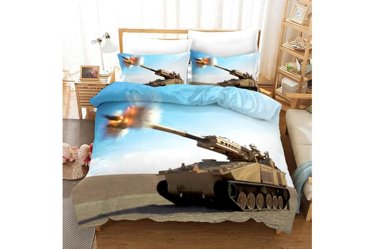 3D Tank Blue Sky Quilt Cover Set Bedding Set Pillowcases 56-King