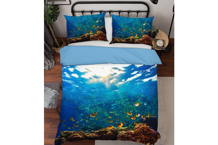3D Blue Seabed Fish Coral Quilt Cover Set Bedding Set Pillowcases 18-Single