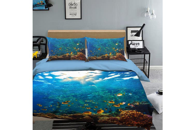 3D Blue Seabed Fish Coral Quilt Cover Set Bedding Set Pillowcases 18-Queen