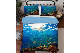3D Blue Seabed Fish Coral Quilt Cover Set Bedding Set Pillowcases 18-King
