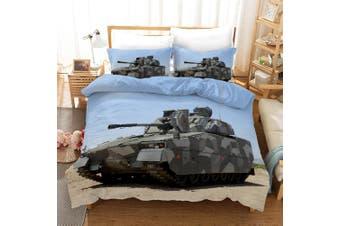 3D Tank Blue Sky Quilt Cover Set Bedding Set Pillowcases 54-Queen
