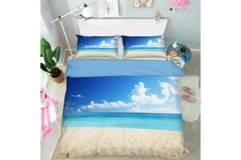 3D Blue Sky Sea Beach Quilt Cover Set Bedding Set Pillowcases 15-Single