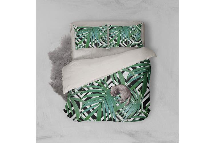 3D Green Plant Leaf Pattern Quilt Cover Set Bedding Set Pillowcases  110-King