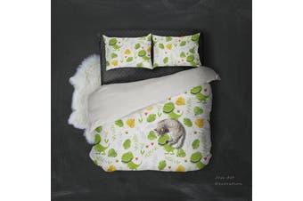 3D Cartoon Dinosaur Green Leaf Pattern Quilt Cover Set Bedding Set Pillowcases  109-King