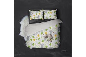 3D Koalas Green Leaf Pattern Quilt Cover Set Bedding Set Pillowcases  107-King
