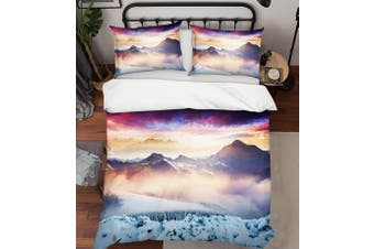 3D Pink Snow Mountains Forest Quilt Cover Set Bedding Set Pillowcases 11-Single