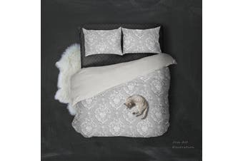 3D White Flowers Pattern Quilt Cover Set Bedding Set Pillowcases  94-Double