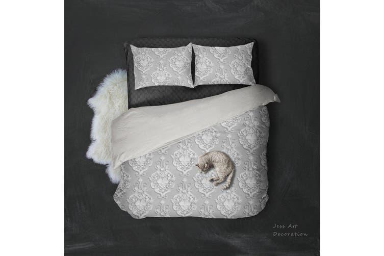 3D White Flowers Pattern Quilt Cover Set Bedding Set Pillowcases  94-Queen